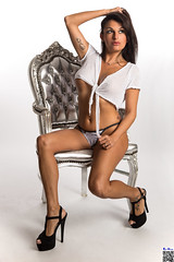 On the silver chair (tnekralc) Tags: silver chair model alley sexy sex face eyes mouth lips hair neck shoulder cleavage arms hands boobs belly navel legs feet heels lingerie