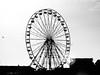 bpool pier (carlyluanne) Tags: blackpool pier ferriswheel ferris wheel black white architecture people construction bird cloud sky