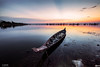 Boat Sunset (Piaklim) Tags: sunset boat reflections outdoor sky cloud sunlight farm lake pond cambodia ray