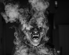 Happy Halloween! (Rob Pitt) Tags: happy halloween 2017 mask smoke vapour devil blackwhite
