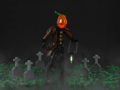 The Wanderer (Anthony (The Secret Walrus) Wilson) Tags: halloween lego moc jack o lantern pumpkin headless horseman bionicle creation