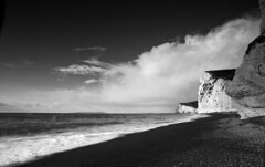 Beach Scene on Durdle Door (www.davidrosenphotography.com) Tags: beach sea seascape coast durdledoor dorset clouds blackwhite bw travel sand