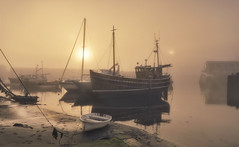 Harbour of Light (Captain Nikon) Tags: mevagissey cornwall cornish southwest harbour innerharbour trawlers pleasureboats fishingboats mist misty sunrise dreamy atmospheric moody golden sun favouriteshoots uk greatbritain