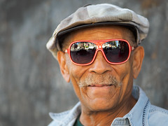 Jeff (kwphotos.com) Tags: street washington dc adams morgan neighborhood jeff red sunglasses cool hat friendly happy stranger blue shirt mustache open shade olympus 75mm em1