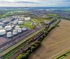 60091 at Kingsbury (robmcrorie) Tags: 60091 class 60 kingsbury scrap eurostar humber oil tanks 6e54 train rail railway freight warwickshire aerial emr