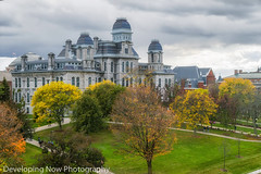 Historical Landmark (nywheels) Tags: syracuseuniversity su syracuseuniversitycampus syracuse syracusenewyork syracuseny syracuseorange halloflanguages buildings trees grass onondagacounty newyork newyorkstate colorful college nikon clouds historical
