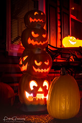Halloween Porch Jack 'O Lantern Totem In Nolansville, Tennessee (Peter Greenway) Tags: jackolantern flickr celebration allhallowseve pumpkins halloween jackolanterns decorations urban porch carved spooky carvedpumpkins residential inflatables totem tennessee trickortreat