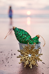 Decorations for Christmas and Golden Snowflake at California Sunset (Evgeniya Lystsova Photography) Tags: christmas sunset beach decoration snowflake golden california december holiday newyear travel happiness season greeting vacation sandiego copyspace merry tropical nature glitter sea ball green seashore ocean xmas festive decor closeup vertical background card white bucket sunrise bulb outdoors candid nobody selectivefocus