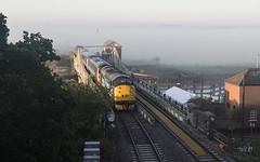 Into the Mist (powern56) Tags: thewherrylines norfolk reedham riveryare railwaybridge swingbridge reedhambridge railway passengertrain directrailservices drs class37 37716 37425 mist 5j67