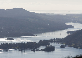 Yachts on Windermere, seen from Wansfell Pike, above Ambleside, Lake District National Park, Cumbria, UK