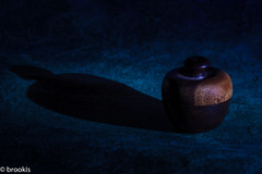MM: Sidelit (brookis-photography) Tags: macromondays sidelit wooden container blue paper shadow light torchlit small