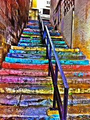 Colorin colorado, gijon (Ampitaaa) Tags: gijon asturias escalera color rollingstones 80s