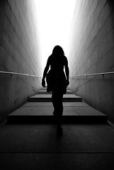(cherco) Tags: woman solitario solitary silhouette shadow silueta sombra street stairs shadows sombras subir up mujer urban light luz backlighting barandilla escaleras sky blackandwhite blancoynegro lonely solo composition composicion canon city ciudad chica calle tunel tunnel