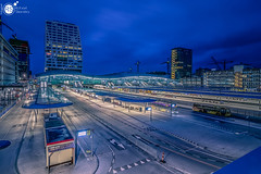 Grand central station Utrecht CS (Robert Stienstra Photography) Tags: utrecht utrechtcentralstation centralstation bluehour bluehourphotography cityscape cityscapes nightscapes nightshots nightscape nightshot dutch trainstation public transport hub lit longexposure longexposurephotography architecture nikond7100