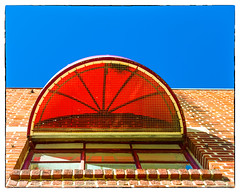 Red Awning (Timothy Valentine) Tags: 2017 window lookup sky 1017 vacation 5050 wednesday red bennington vermont unitedstates us