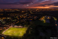 Prescot at dusk (Steve Samosa Photography) Tags: prescot prescotcables aerial aerialview knowsley england unitedkingdom gb football sunset dronecamera drone drones uav nightscene night dusk