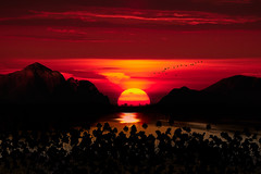 Stagecoach Silhouette (·tlc∙) Tags: stagecoach kansas composite mountains dolomites sunset landscape lake reflection