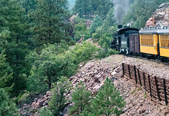 Shored-up track with evidence of rock falls R1004936 Durango & Silverton RR (Recliner) Tags: baldwin dsng drg