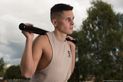 Dominic (PhotoMechanic.uk) Tags: male man guy dude youth model pose photoshoot boy outdoors outside sky baseball bat sleeveless tshirt vest fashion trendy casual face