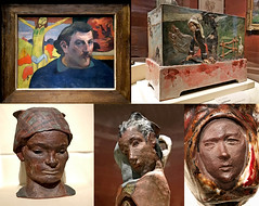 Paul Gauguin ceramics in Chicago (robmcrorie) Tags: paul gauguin exhibition art institute chicago painting ceramic sculpture iphone 7 plus pottery chaplet face model bust jardiniere self portrait yellow christ crucifixion brittany breton