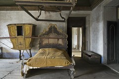 The Far Away Mansion (Sean M Richardson) Tags: abandoned abandon mansion faraway portugal pt travel bed old classic vintage ornate canon eos 24mm prime decayed decay details detail derelict design shadows contrast color colour colors colours colorful yellow gold red blue black grey white brown dark bright ruins peeling paint textures texture inside indoors interior lines explore exploration ue urbex europe photoshop flickr architecture softlight digital historic history lowlight