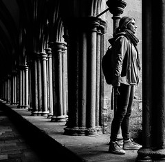 Standing in the light (phil anker) Tags: people mono light cloisters fujix70