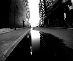 Young Street Reflections Montreal (MassiveKontent) Tags: montreal bw city gopro monochrome urban fisheye blackandwhite street photo montréal quebec water reflection architecture griffintown