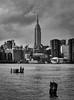 Empire State Building (CoreyBourassaPhoto) Tags: 7d 7dmarkii 7dmii brooklyn canon dslr eos eos7dmii eastriverriver empirestatebuilding newyork newyorkcity architecture blackandwhite city river water