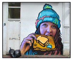STREET ART by IRONY & ARTISTA (StockCarPete) Tags: irony artista streetart londonstreetart toast flyingtoast women female graffiti brixtonart london uk urbanart hat eating binbags wallart spraycanart aerosolart