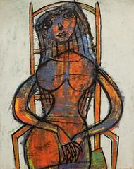 A Widow, 1943 (Jonathan Lurie) Tags: the met metropolitan museum art museums new york city central park fifth avenue artmuseum artinmuseums centralpark metfifthavenue metropolitanmuseumofart newyorkcity newyork themet unitedstates us oil painting modern 1943 jean dubuffet museumdetroit institute arts canvas