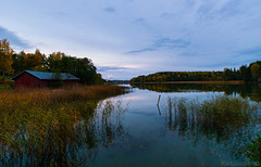 Evening landscape (Joni Mansikka) Tags: autumn nature outdoor landscape view shed water reflections trees colours evening bay sea karuna suomi suomi100 finland finland100 sal1118
