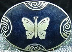 4 spirals and a butterfly (muffett68 ☺ heidi ☺) Tags: box blue silver butterfly macromondays spiral
