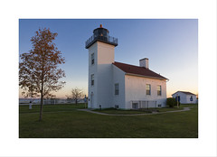 Sand Point Lighthouse (DJ Wolfman) Tags: michigan michiganfavorites michiganlighthouses lighthouse blue sandpointlighthouse escanaba escanabami up upperpeninsula sony rx10 fall autumn sunrise dawn color