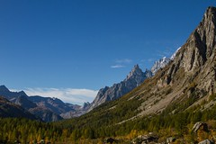 Lignes en montagne (lines in the mountain) (Larch) Tags: mountain forest tree landscape scenery sky alpes alps valferret italie italy aiguillenoiredepeuterey aiguillesblanchesdepeuterey ligne line automne autumn fall vallée valley nature lines perspective