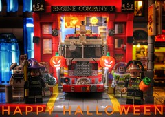 Happy Halloween (sponki25) Tags: halloween greets nyc legonyc fdny engine5 firetruck pumpkin