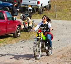 Enjoying Her Ride (John Kocijanski) Tags: motorcycle race sport candid canon70300mmllens canon7d people woman rider vehicle kawasakike175 vintage classic dirtbike pitbike