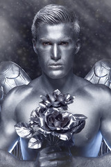 Winter Angel (Chicago_Tim) Tags: silver blue angel flowers shirtless man sexy dave grey gray