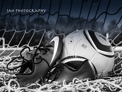 Boots On The Ground (jah32) Tags: soccer football fifa balls ball soccerball associationfootball boots cleats soccerboots nike adidas net goal thebeautifulgame blackandwhite bw blackwhite monochromatic monochrome soccerpitch footballpitch cmwdbw