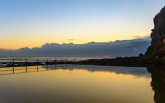 Dawn Seascape and Seapool (Merrillie) Tags: daybreak pool sand landscape macmastersbeach nature dawn bouddipeninsula newsouthwales clouds earlymorning nsw seapool beach centralcoast australia sunrise sea coastal seascape sky waterscape outdoors coast water waves