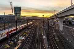 Morning light in Zurich: Race to the sun  (1/2) (jaeschol) Tags: duttweilerbrücke eisenbahn europa ic kantonzürich kontinent sbb schweiz stadtzürich suisse switzerland transport transportunternehmen zug zürich chemindefer railroad railway ch