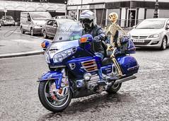 Ghost Rider ! (James Whorriskey (Delbert Jackson)) Tags: jameswhorriskey jameswhoriskey delbertjackson derry londonderry uk ulster ireland northernireland photo photograph photographer picture aroundus impressionsexpressions catchycolors jameswhorriskeyphotography colour art print light color motorbike outdoors beach skeleton halloween diamond october autumn