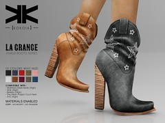 La Grange :: Ankle Boots :: 10 Colors ({kokoia}) Tags: kokoia boots boot cowboy cowgirl west heel maitreya slink tmp belleza eve high shoes ankle lagrange grange second life avatar secondlife 3d mesh