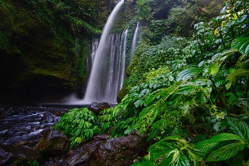 A majestic view of Tiu Kelep Waterfall, Lombok, Indonesa.