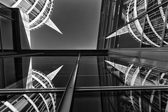 Triple Reflection (laga2001) Tags: reflection trade fair tower vienna austria europe canon triple quad center windows black white monochrome bnw bw contrast grey sky building architecture high real symmetrical geometry wideangle design day abstract multiple city urban