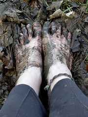 Muddy Tops (Barefoot Adventurer) Tags: barefoot barefooting barefoothiking barefeet barefooter barefooted baresoles barfuss wrinkledsoles wetmud woodlandsoles woodlandmud toughsoles toes anklet grounded muddyfeet muddy mud barefootmudwalk winterbarefooting nature connected earthsoles earthing energy