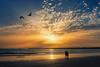 Tardes de verano... (protsalke) Tags: summer light rays sun ocean beach colors cadiz evening calm sky clouds sunset walk nikon andalucia relax