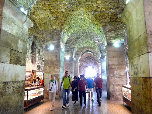 Cellars of Diocletian's palace today cater to tourist needs, Split, Croatia