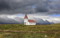 Old Church (wyojones) Tags: iceland snæfellsjökullnationalpark hellnar fishingvillage church statechurch rockwall landscape clouds cloudscape storm wyojones np