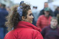 Lady in Red (Frank Fullard) Tags: frankfullard fullard lady girl woman red bow hair hoops earring ear ring beauty profile candid street portrait ballinasloe horsefair fair festival october 2017 polkadot irish ireland galway olivianewtonjohn grease curls
