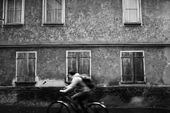Nobody notice the old house (stefankamert) Tags: stefankamert street old house textures bicycle windows closed tübingen bw baw noir noiretblanc blackandwhite blackwhite girl sony rx1 rx1r sonyrx1r zeiss 35mm fullframe mirrorless cyclist